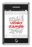 Video Games Word Cloud Concept on Touchscreen Phone. Video Games Word Cloud Concept of Touchscreen Phone with great terms such as violent, children, play, mature Stock Images
