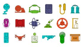 Video gaming icon set, color outline style. Video gaming icon set. Color outline set of video gaming vector icons for web design isolated on white background vector illustration