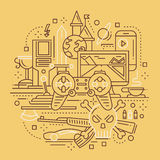 Video Gaming - line design composition Stock Image