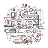 Video Gaming - line design composition Royalty Free Stock Photo