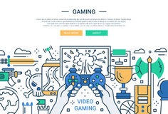 Video Gaming - line design website banner. Illustration of vector modern line flat design website banner, header with video gaming process Royalty Free Stock Photos