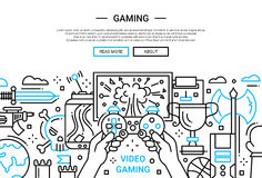 Video Gaming - line design website banner. Illustration of vector modern plain line flat design website banner, header with video gaming process Royalty Free Stock Image