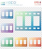 Video geometric polygonal icons. Brilliant mosaic style symbol collection. Authentic low poly style. Modern design. Video icons set for infographics or Stock Photography