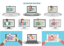 Video geplaatste bloggers vector illustratie