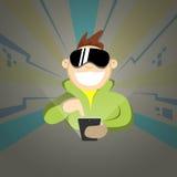 Video gioco cyber del gioco di realtà virtuale dello Smart Phone delle cellule della tenuta di vetro di Digital di usura del raga illustrazione di stock