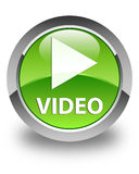 Video glossy green round button Stock Images