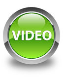 Video glossy green round button Royalty Free Stock Photos