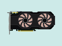 Video graphic card isolated flat with green background Royalty Free Stock Photo