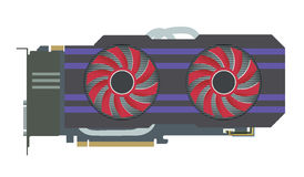 Video Graphic Card. VGA Computer Part. Vector Illustration Stock Images