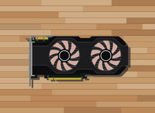 Video graphic card  with wood background Stock Image