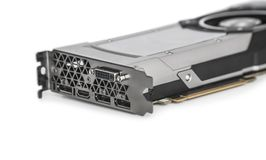 Video Graphics card with powerful GPU on white backgrou. Video Graphics card with powerful and modern GPU isolated on white background Stock Image