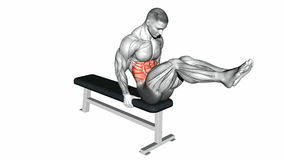 Video guides exercising. Double twist on the bench Stock Photo