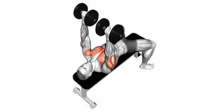 Video guides exercising. Dumbbell bench press lying. second Emb. Dumbbell bench press lying. second Embodiment. Video guides exercising for bodybuilding Target