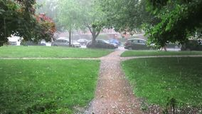 Heavy Rain and Hail Storm in Washington DC in June. Video of hail stones on a walkway in a washington dc neighborhood during a rainstorm in june in spring stock footage