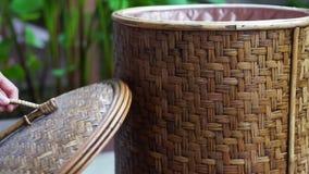 Video hand close rattan basket. Asian craft object. Video hand close rattan basket. Asian beautiful craft object stock footage