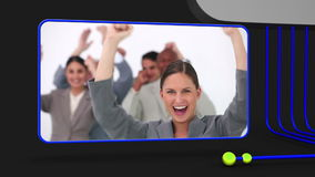 Video of happy business people Royalty Free Stock Images