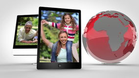 Video of happy family with Earth image courtesy of Nasa.org stock footage