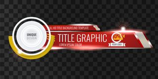 Video headline title or lower third template with flow and bokeh lights effect. Unique banner design for video. Red. Video headline title or lower third template Royalty Free Stock Image