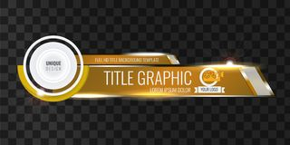Free Video Headline Title Or Lower Third Template With Flow And Bokeh Lights Effect. Unique Banner Design For Video. Golden Royalty Free Stock Photo - 138352015
