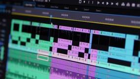 Video het Uitgeven Software die door het Chronologiekader door Kader Standpunt gaan stock footage