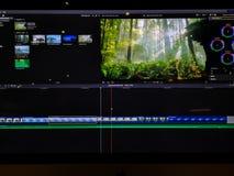 Video het uitgeven tijdlijn en klemmen op het computerscherm - video het uitgeven proces royalty-vrije stock foto