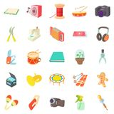 Video hobby icons set, cartoon style. Video hobby icons set. Cartoon set of 25 video hobby vector icons for web isolated on white background Royalty Free Stock Photography