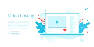 Video hosting concept in isometric vector illustration. Online streaming service background with laptop and like button. Social. Media layout template for web vector illustration