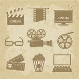 Video icon cinema sign. Cinematic theme in vintage style. Video icon cinema sign - vector illustration Stock Image