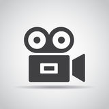 Video icon with shadow on a gray background. Vector illustration Stock Photo
