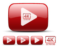 Video icon. Vector red video icons set with play symbol and 4k ultra high resolution logo vector illustration