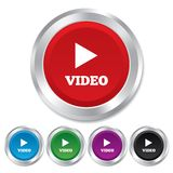 Video icona del segno del gioco. Simbolo di navigazione del giocatore. Fotografia Stock Libera da Diritti