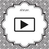 Video icona di vettore su un fondo geometrico Fotografie Stock Libere da Diritti