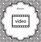 Video icona di vettore su un fondo geometrico Fotografia Stock