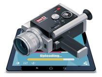Video icona uploading Fotografie Stock