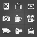 Video icone sopra fondo nero Vettore Fotografie Stock Libere da Diritti
