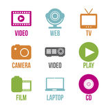 Video icons Royalty Free Stock Photography