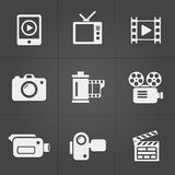 Video icons over black background. vector Royalty Free Stock Photos