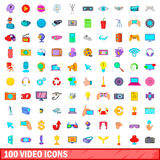 100 video icons set, cartoon style Royalty Free Stock Photo
