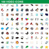 100 video icons set, cartoon style. 100 video icons set in cartoon style for any design vector illustration Stock Images
