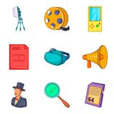 Video icons set, cartoon style. Video icons set. Cartoon set of 9 video vector icons for web isolated on white background Royalty Free Stock Images