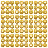 100 video icons set gold. 100 video icons set in gold circle isolated on white vector illustration royalty free illustration