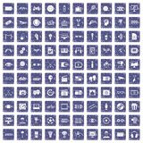 100 video icons set grunge sapphire. 100 video icons set in grunge style sapphire color isolated on white background vector illustration Stock Image