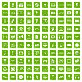100 video icons set grunge green. 100 video icons set in grunge style green color on white background vector illustration royalty free illustration