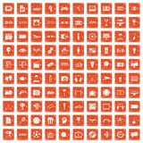 100 video icons set grunge orange. 100 video icons set in grunge style orange color isolated on white background vector illustration Stock Illustration