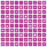 100 video icons set grunge pink. 100 video icons set in grunge style pink color isolated on white background vector illustration Vector Illustration
