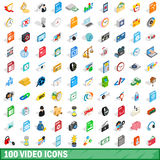100 video icons set, isometric 3d style Stock Photo