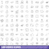 100 video icons set, outline style Stock Photos