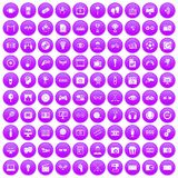100 video icons set purple. 100 video icons set in purple circle isolated on white vector illustration vector illustration