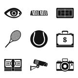 Video image icons set, simple style. Video image icons set. Simple set of 9 video image vector icons for web isolated on white background Stock Images