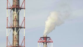 Video of industrial chemical plant`s pipes in industrial district